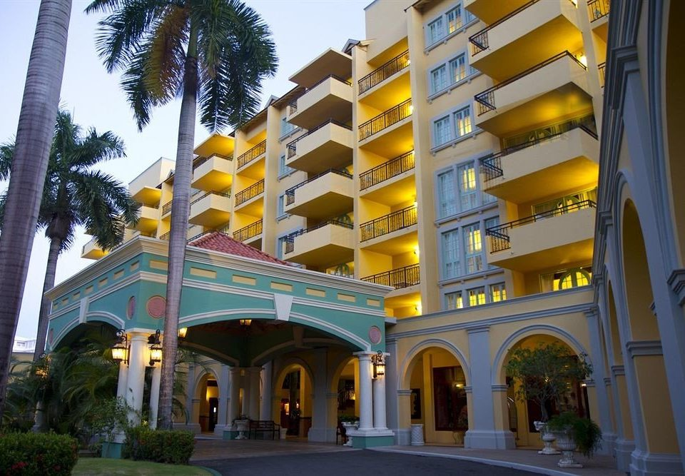 All-inclusive Beachfront Exterior Tropical sky building Architecture plaza yellow palace