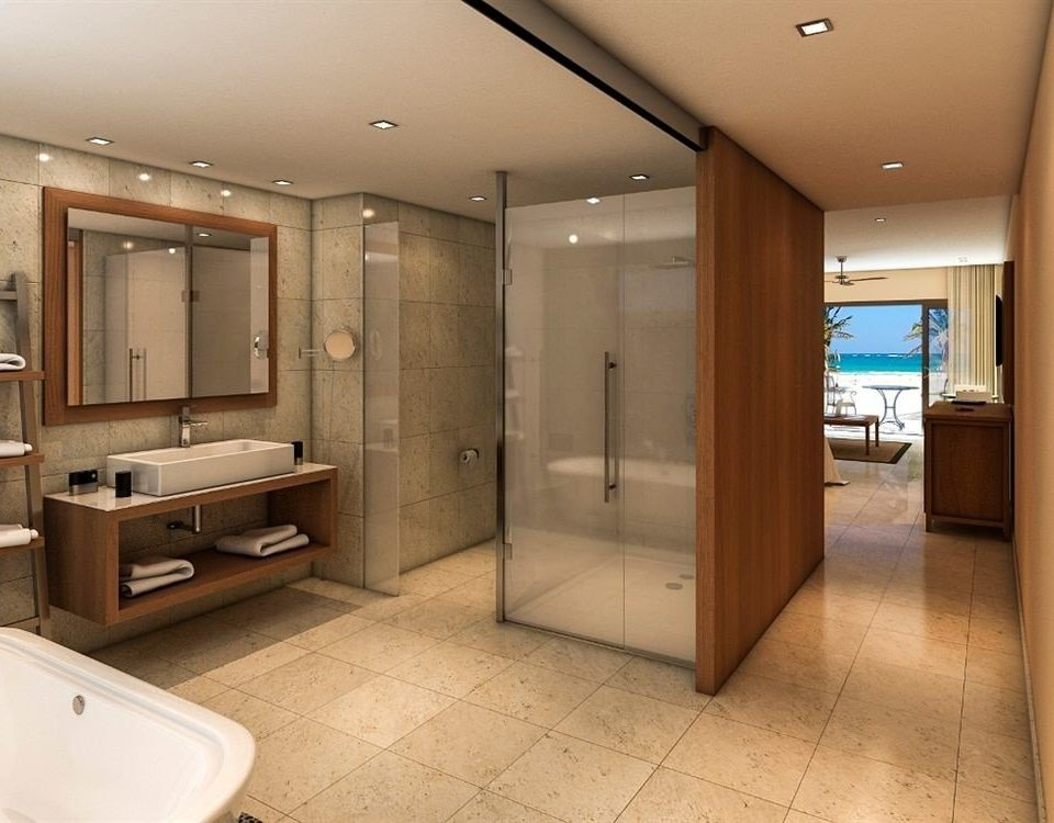 All-inclusive Bath Beachfront Modern Waterfront bathroom property sink home Suite cabinetry tub bathtub