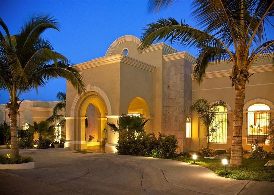 All-inclusive Exterior Resort tree sky palm building house home night arecales hacienda mansion Courtyard palace plant Villa arch