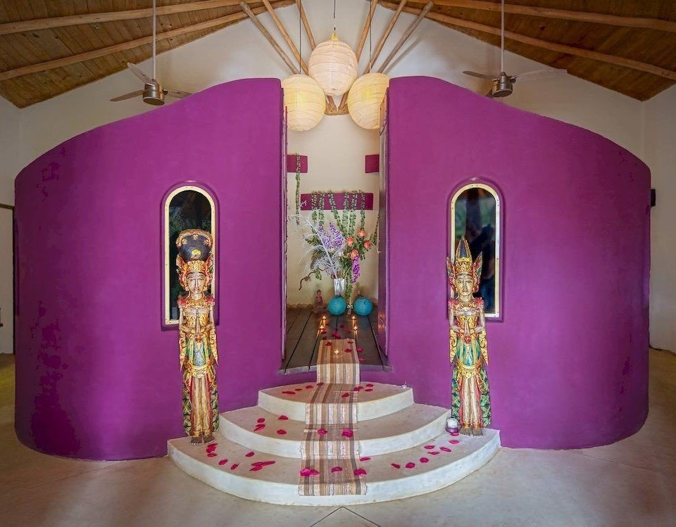 pink lighting altar