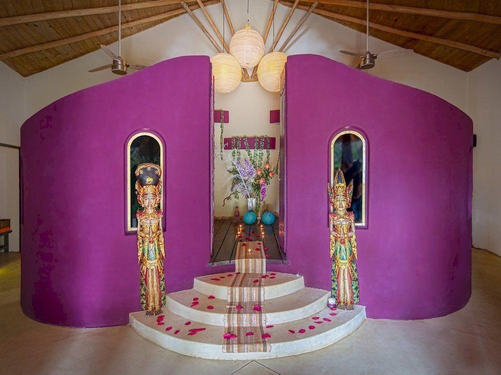 pink lighting altar
