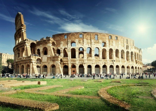 grass sky building historic site landmark archaeological site structure amphitheatre ancient roman architecture palace ancient rome ancient history plaza byzantine architecture old stately home big basilica unesco world heritage site place of worship wonders of the world monastery grassy stone castle