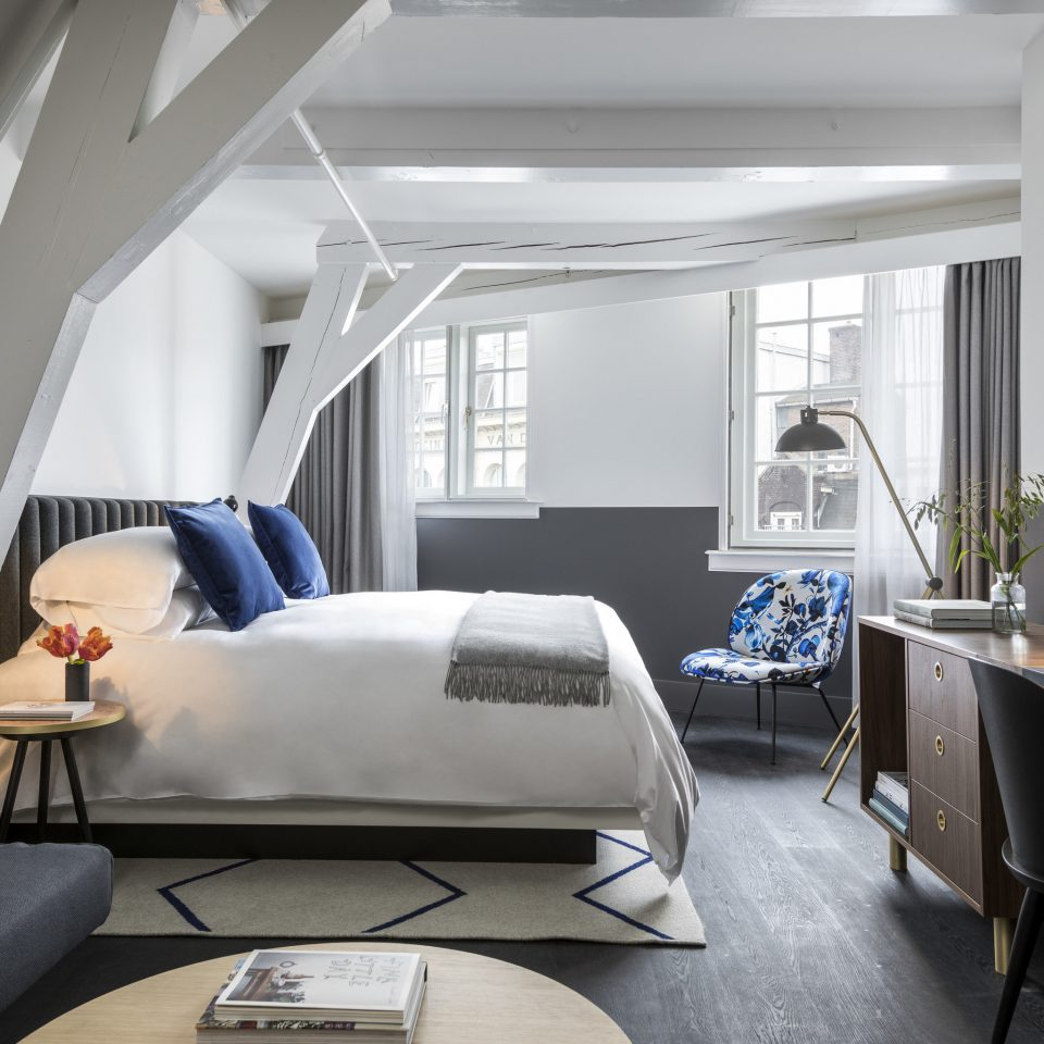 Amsterdam Hotels The Netherlands Architecture white product design Bedroom loft Suite daylighting interior designer