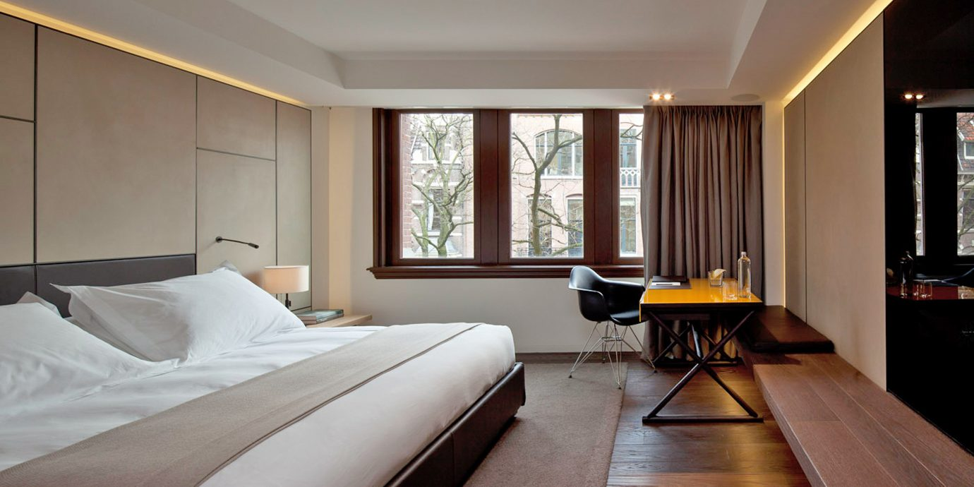 Amsterdam Bedroom Boutique Hip Hotels Modern The Netherlands property Suite hardwood home condominium living room cottage