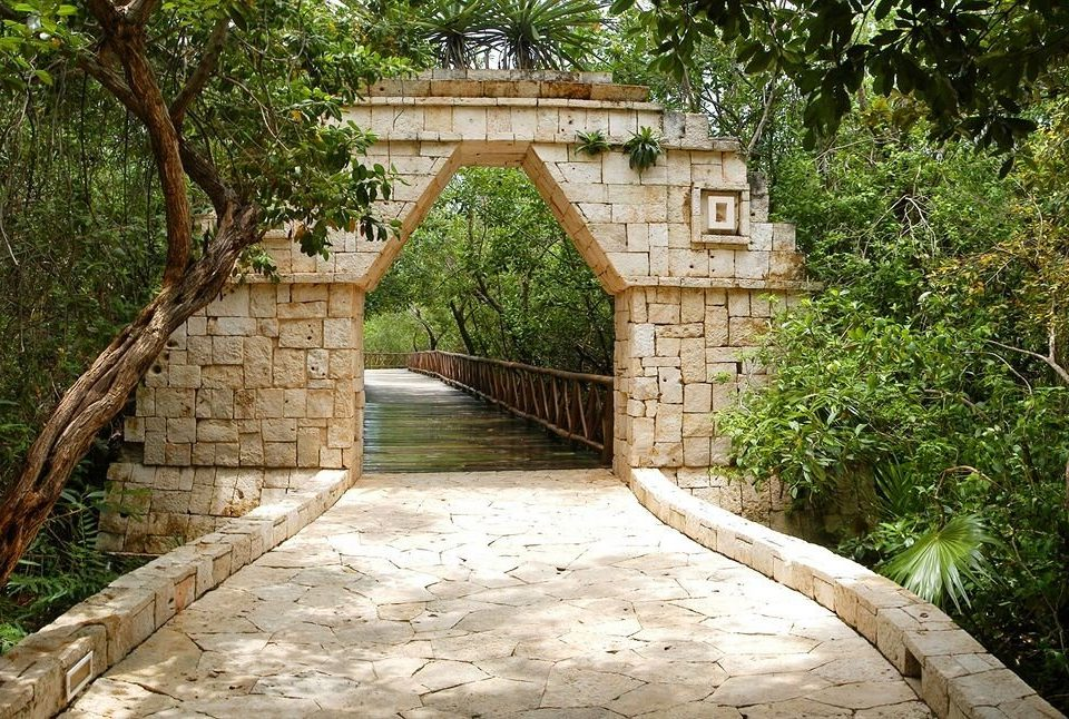 tree ground bridge walkway ancient history cottage waterway arch stone concrete cement