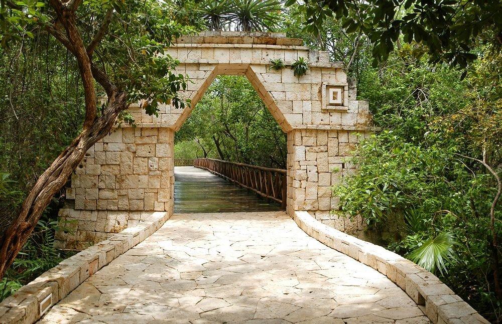 tree ground bridge walkway ancient history cottage waterway arch stone concrete cement