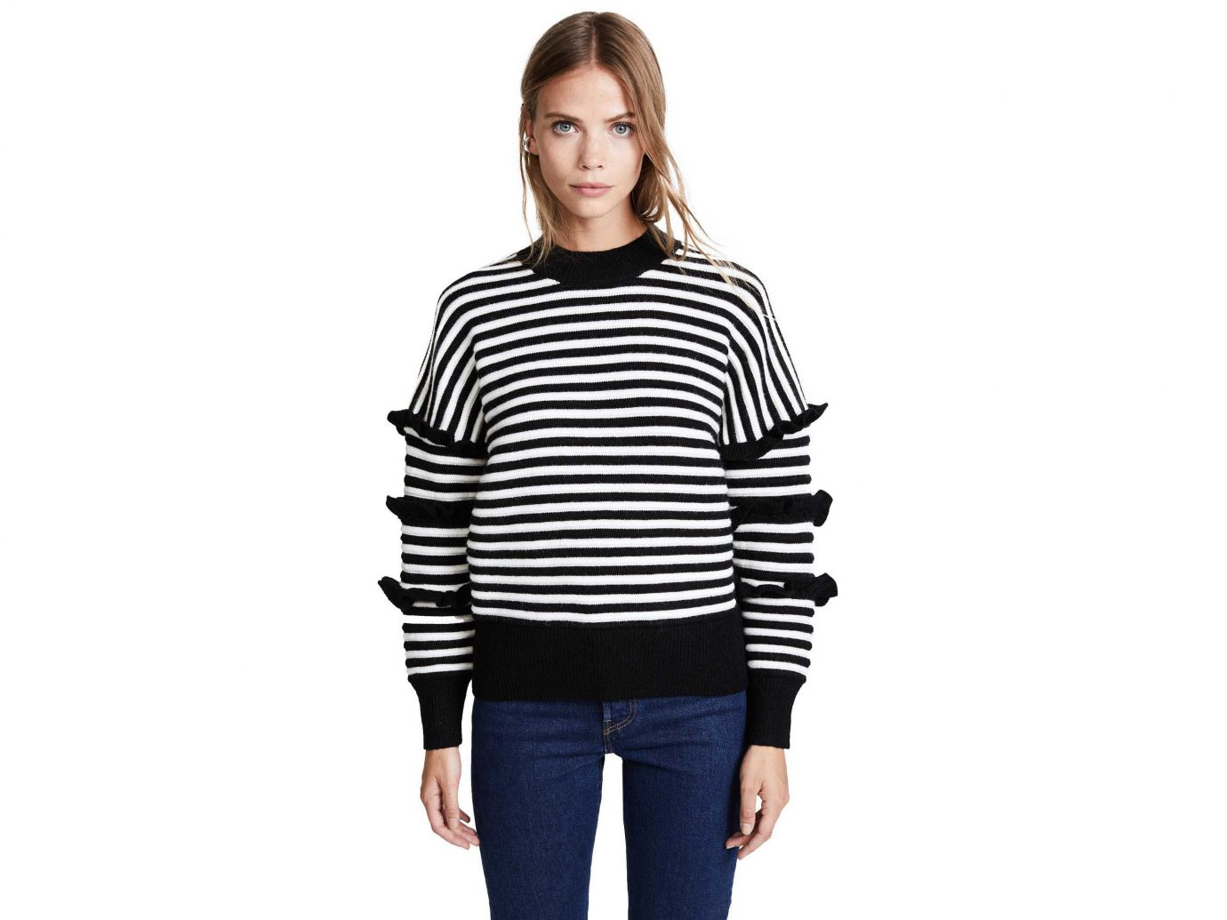 Style + Design Travel Shop person clothing sleeve standing shoulder striped sweater neck outerwear long sleeved t shirt joint fashion model product t shirt posing trouser