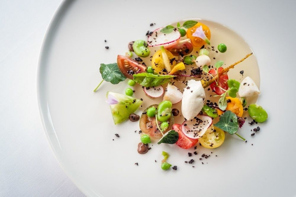 plate food salad white vegetarian food cuisine vegetable appetizer recipe garnish piece de resistance
