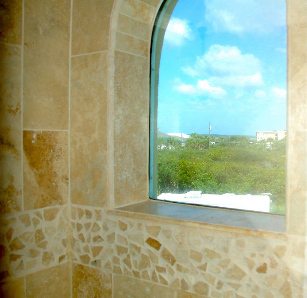 arch daylighting glass stone tub bathroom