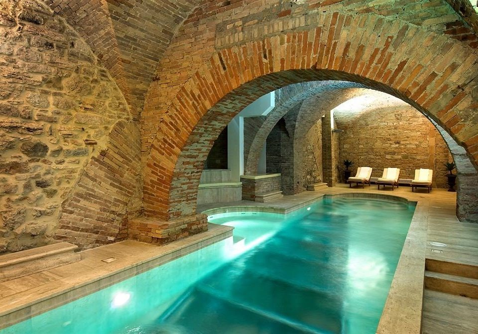 swimming pool building thermae arch formation stone