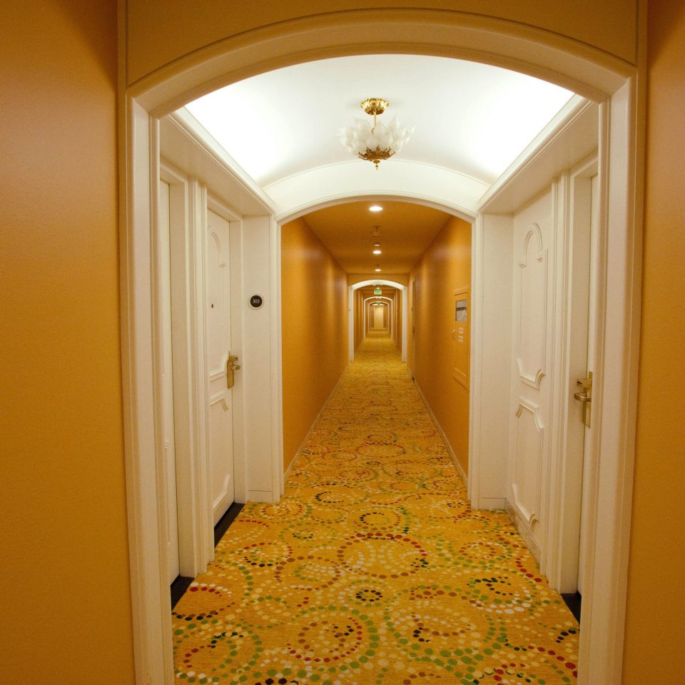 yellow house hall home arch lighting mansion column painted
