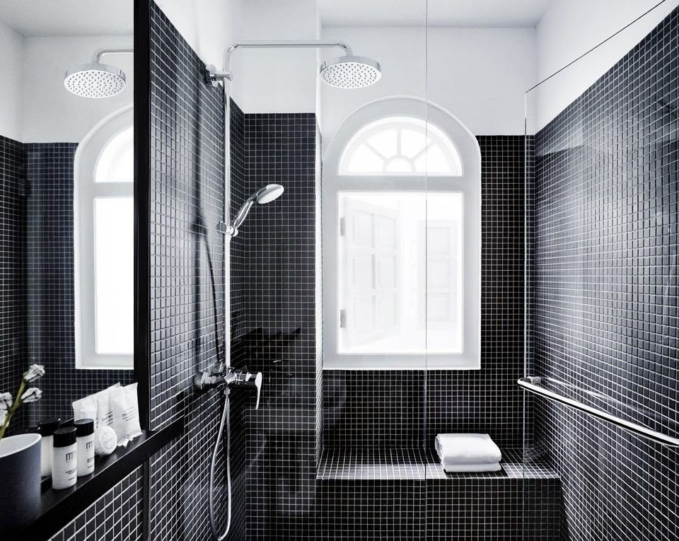black bathroom black and white white Architecture bathroom accessory plumbing fixture tile angle daylighting glass monochrome flooring public toilet monochrome photography interior designer tiled