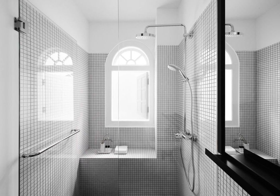 bathroom black black and white Architecture white tile home bathroom accessory plumbing fixture daylighting monochrome photography monochrome sink bathroom cabinet angle product house flooring glass window treatment tiled