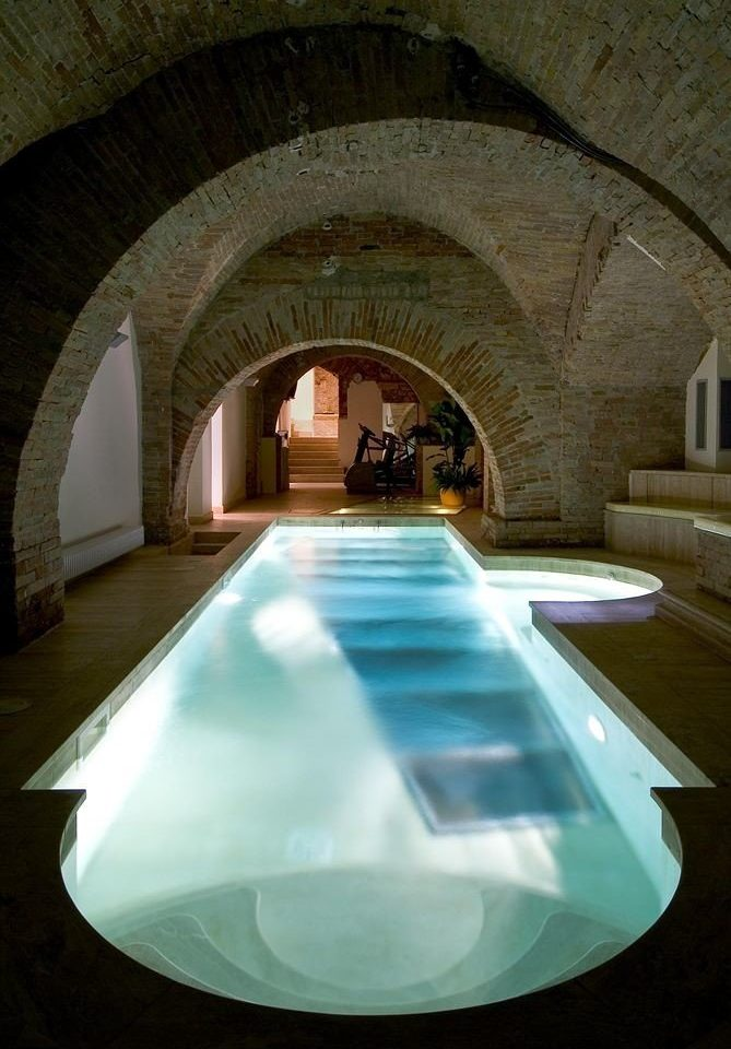 swimming pool light Architecture thermae stone arch square
