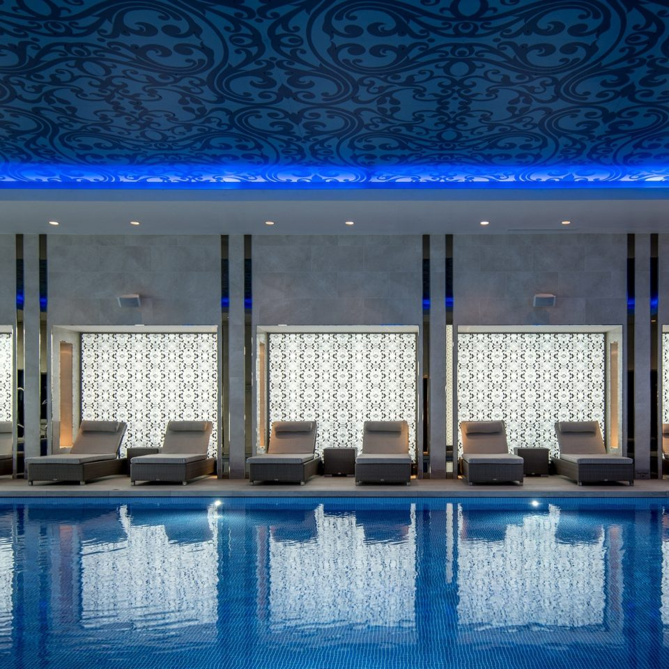 blue swimming pool Architecture lighting auditorium theatre convention center arranged