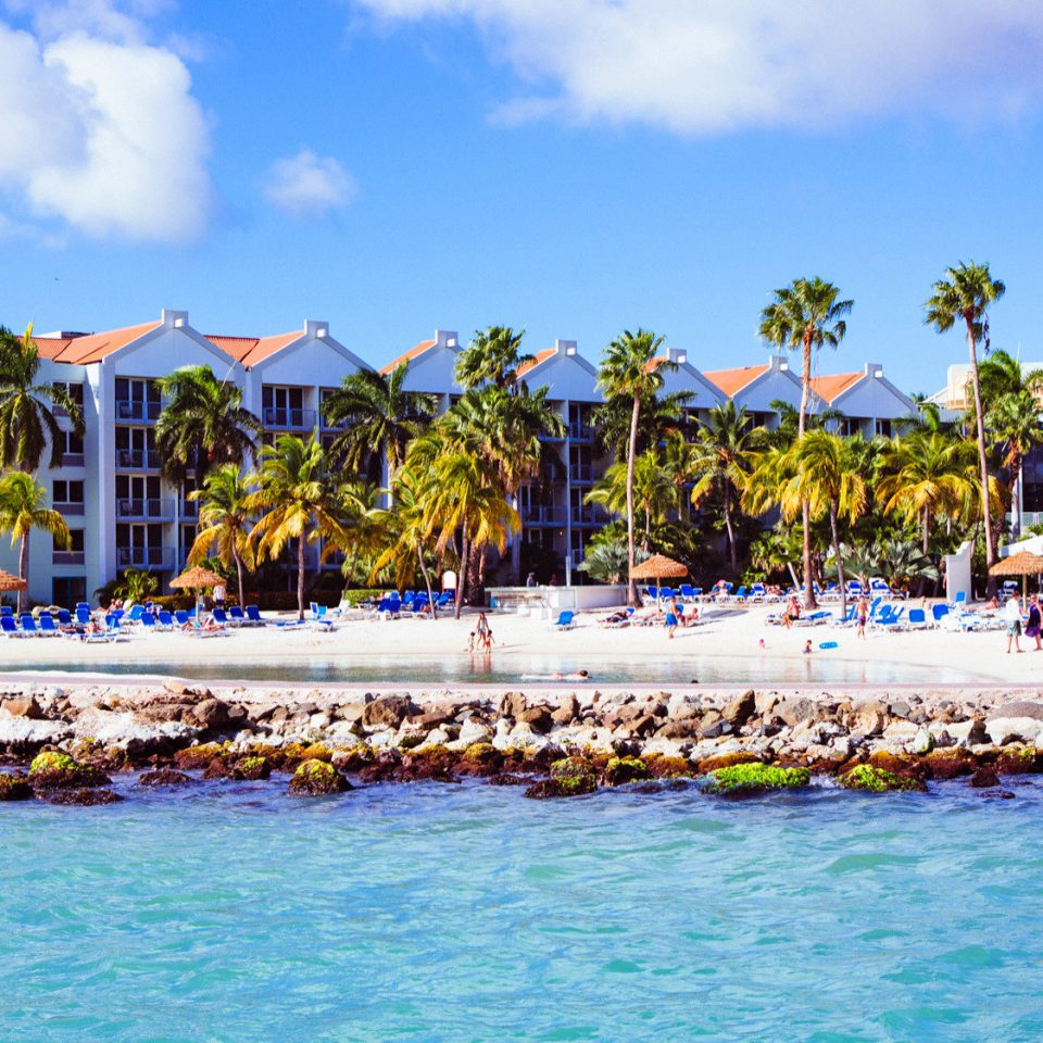 Architecture Aruba Beachfront Buildings Exterior Grounds Hotels sky water Beach leisure Resort Sea caribbean swimming pool Water park amusement park Lagoon Harbor Island park lined swimming colorful sandy