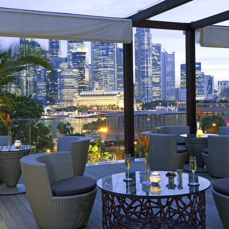 Architecture Buildings City Dining Drink Eat Elegant Luxury Resort Scenic views chair property building condominium restaurant home lighting Lobby living room overlooking outdoor structure Bar