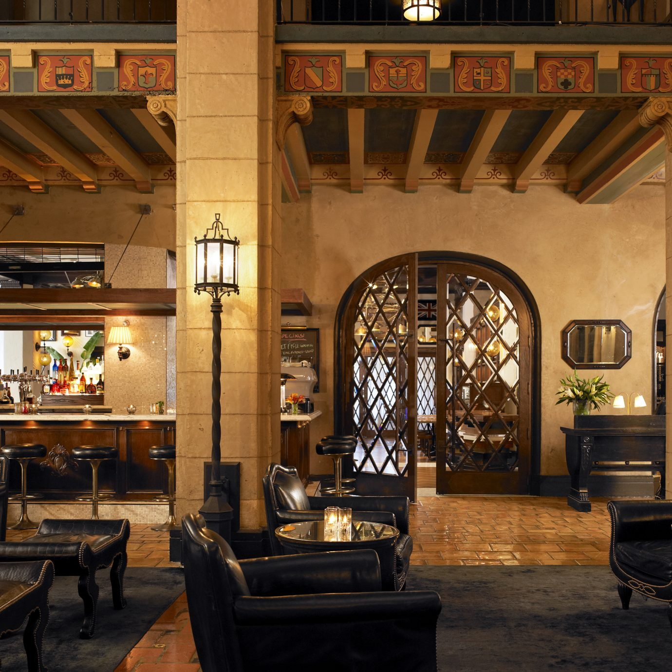 Architecture Bar Dining Drink Eat Historic Hotels Lobby Lounge Luxury Romance chair restaurant lighting