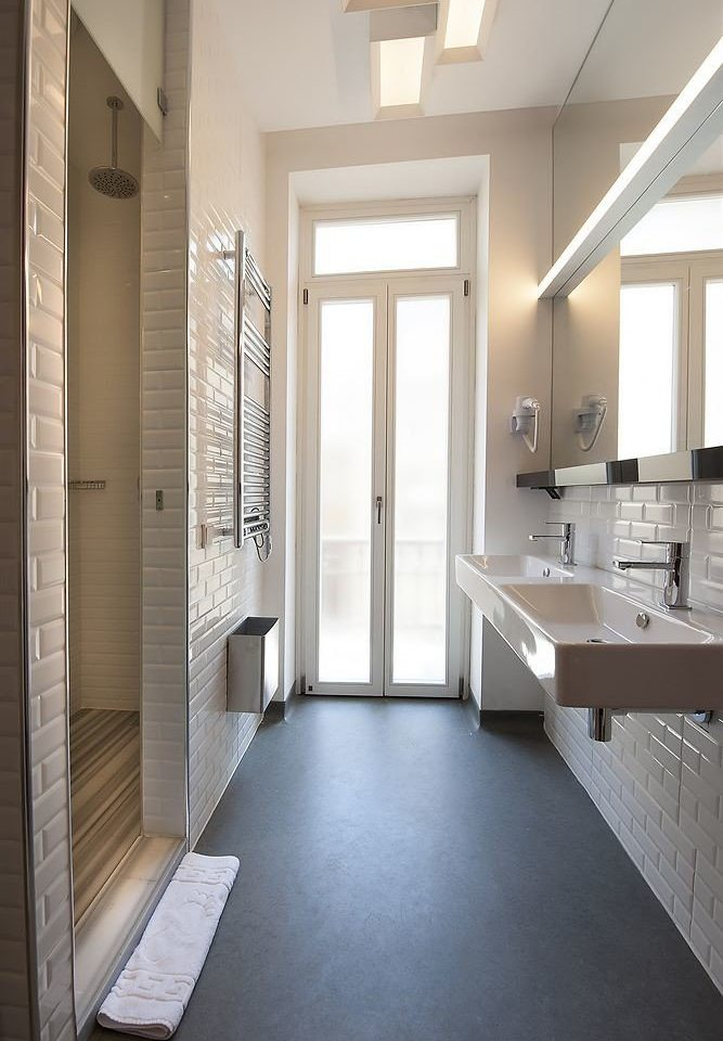 bathroom property mirror building house Architecture home flooring daylighting loft hall