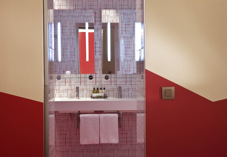 color red house Architecture product home tiled bathroom