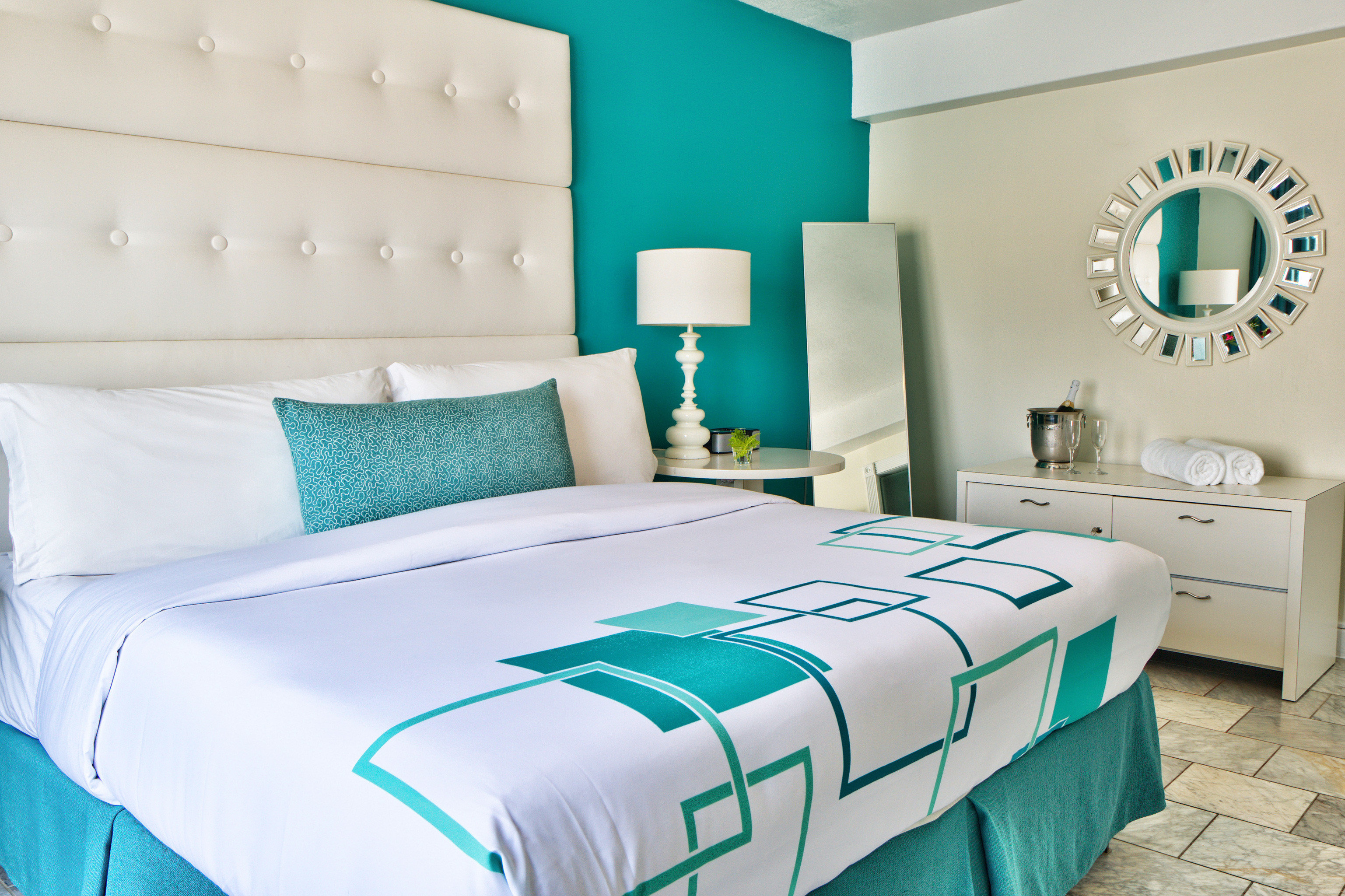 Architecture Beach Beachfront Bedroom green duvet cover bed sheet textile material linens bed frame colored
