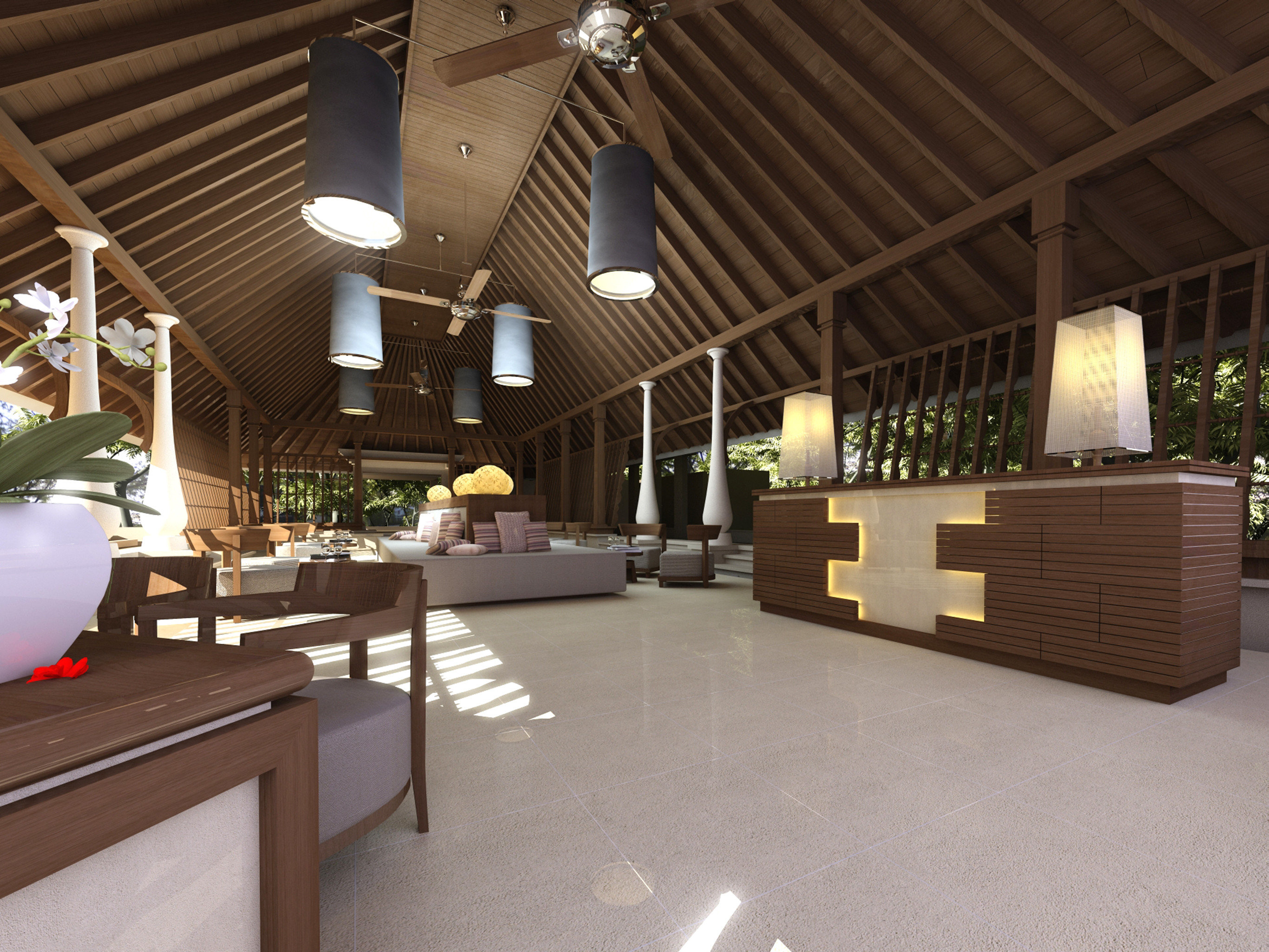 Beachfront Lounge Luxury Modern Scenic views Lobby Architecture outdoor structure