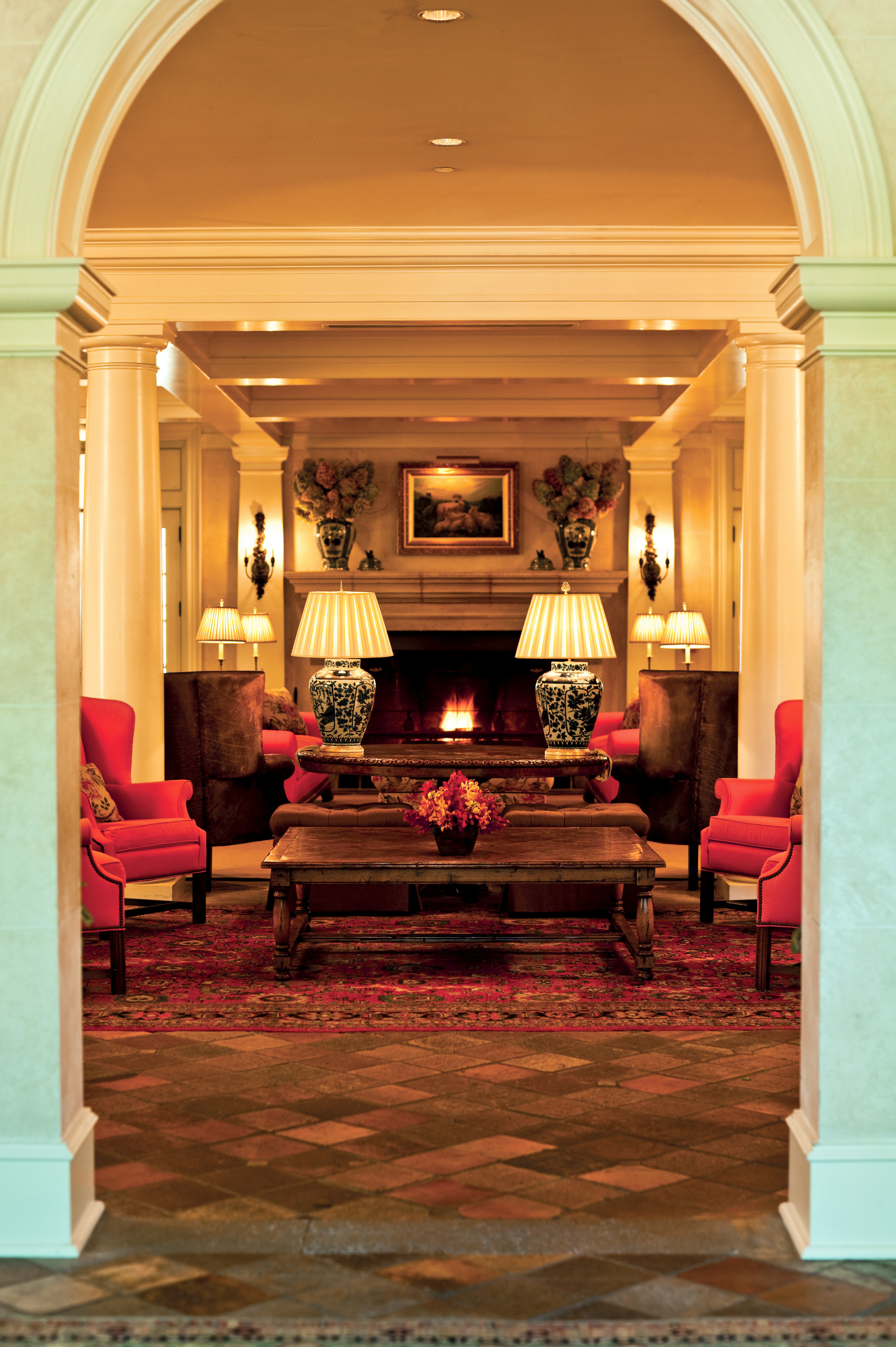 Country Fireplace Lobby Lounge Romantic Architecture home mansion living room palace hall arch Bedroom