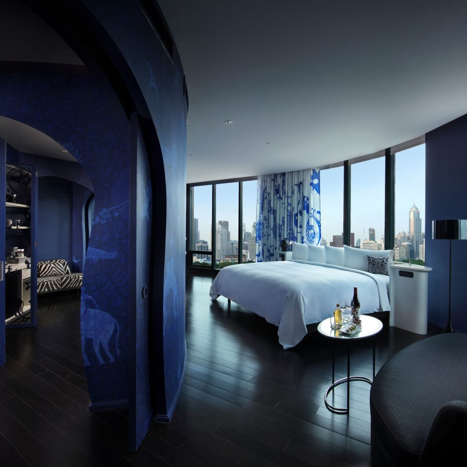 blue property house Architecture home Suite living room Bedroom