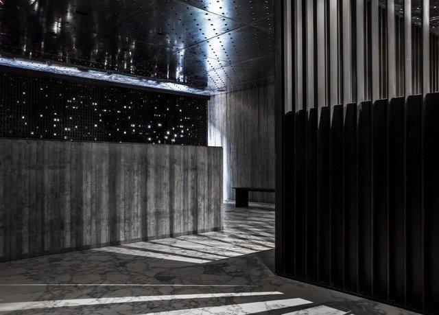 black light darkness Architecture night monochrome lighting monochrome photography symmetry column concrete