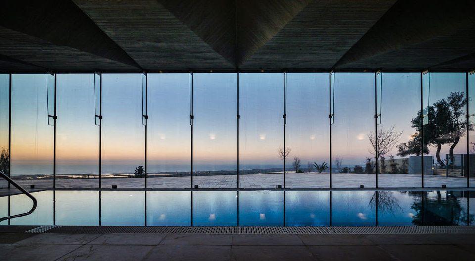 blue light Architecture house swimming pool lighting sunlight evening symmetry