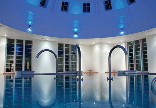blue swimming pool Architecture leisure centre lighting glass