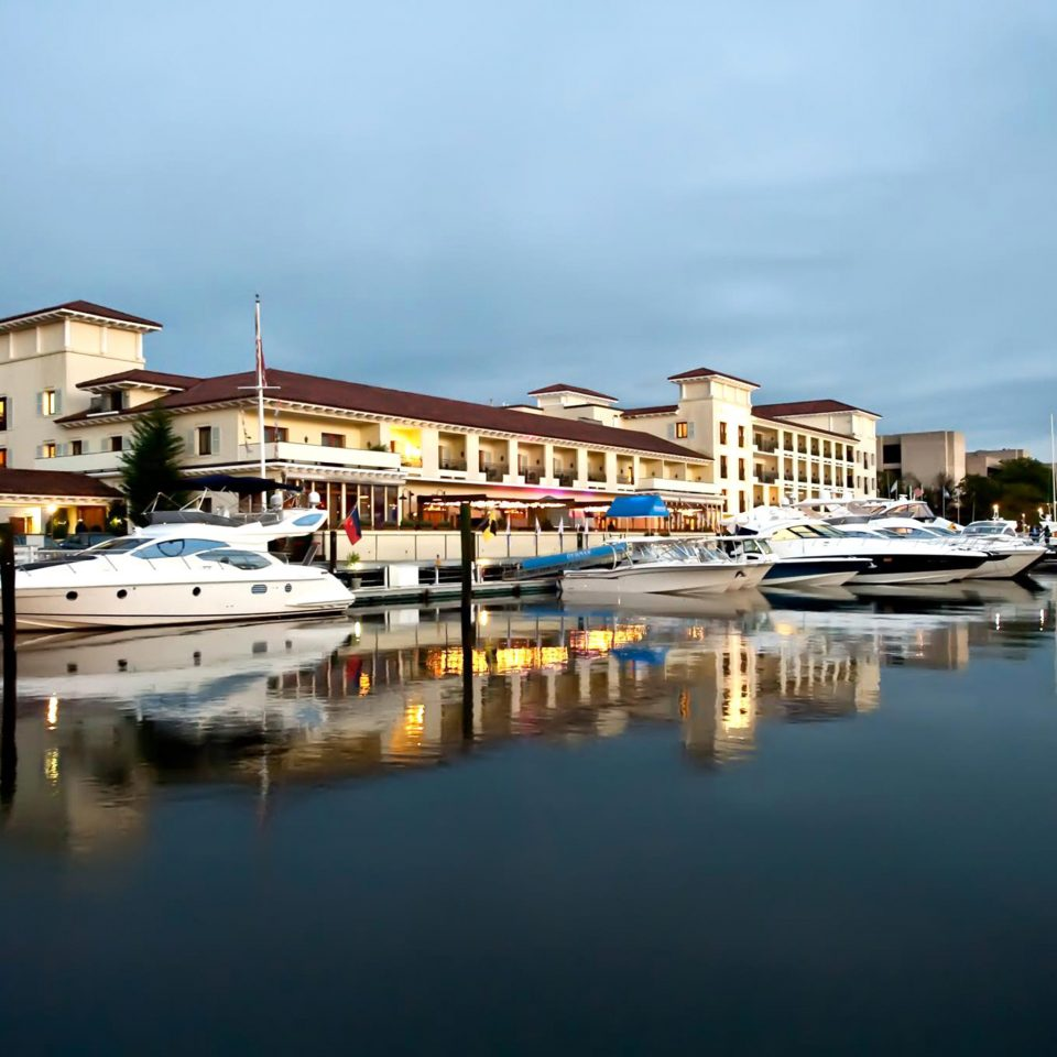 Architecture Boat Buildings Exterior Scenic views Waterfront water sky scene Harbor marina dock Sea vehicle docked cityscape waterway evening dusk tied