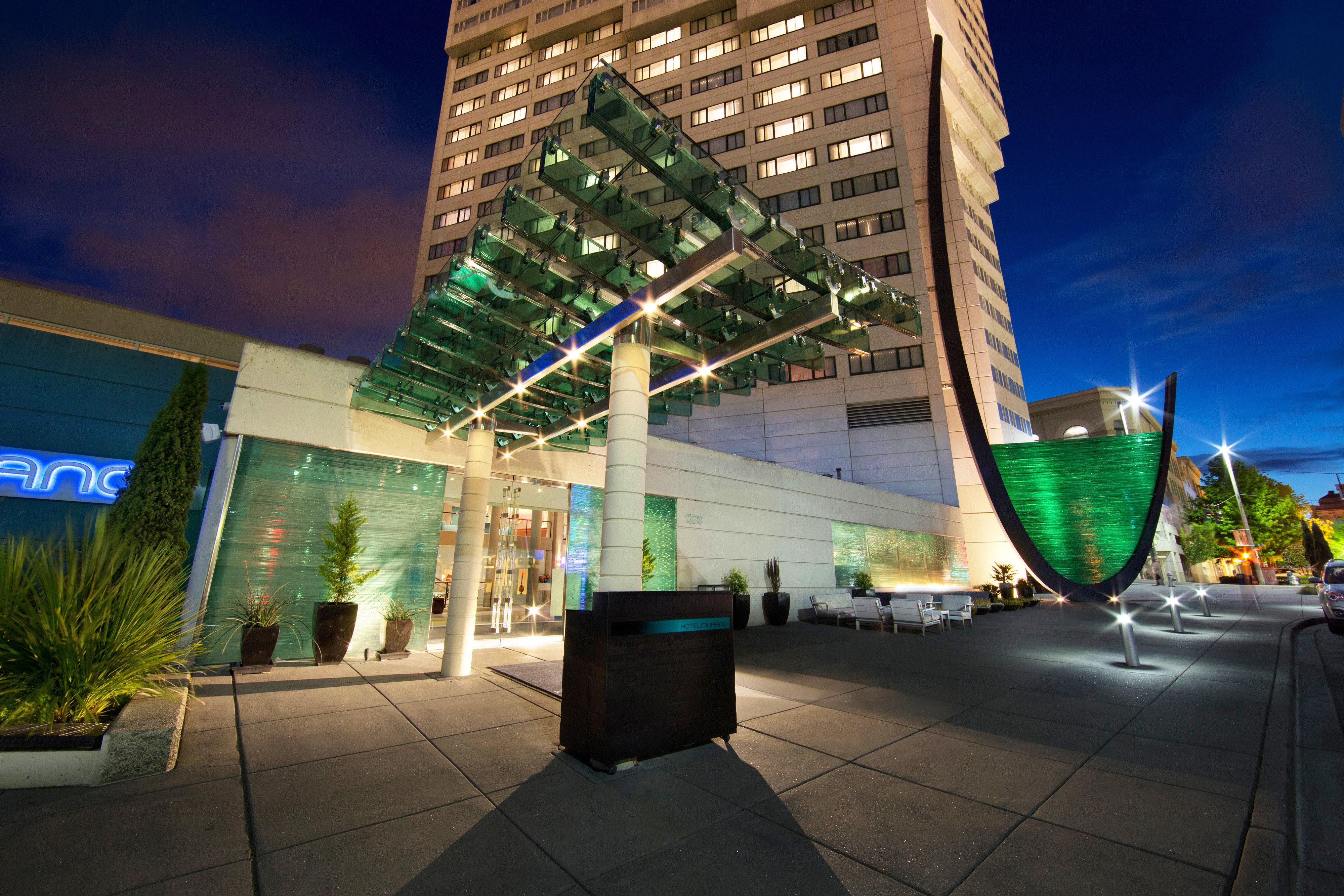 Boutique Budget City Exterior Hip Modern landmark night street Architecture green Downtown shopping mall Resort condominium