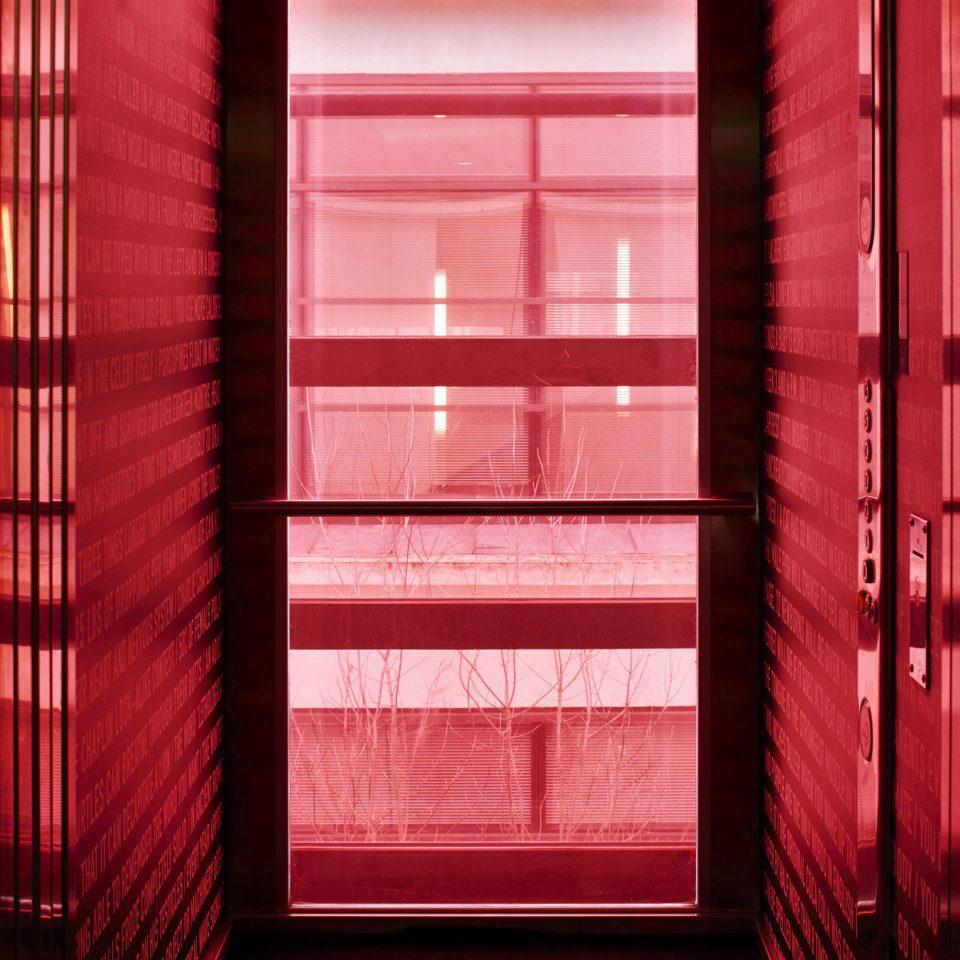 color red building door Architecture window blind window treatment