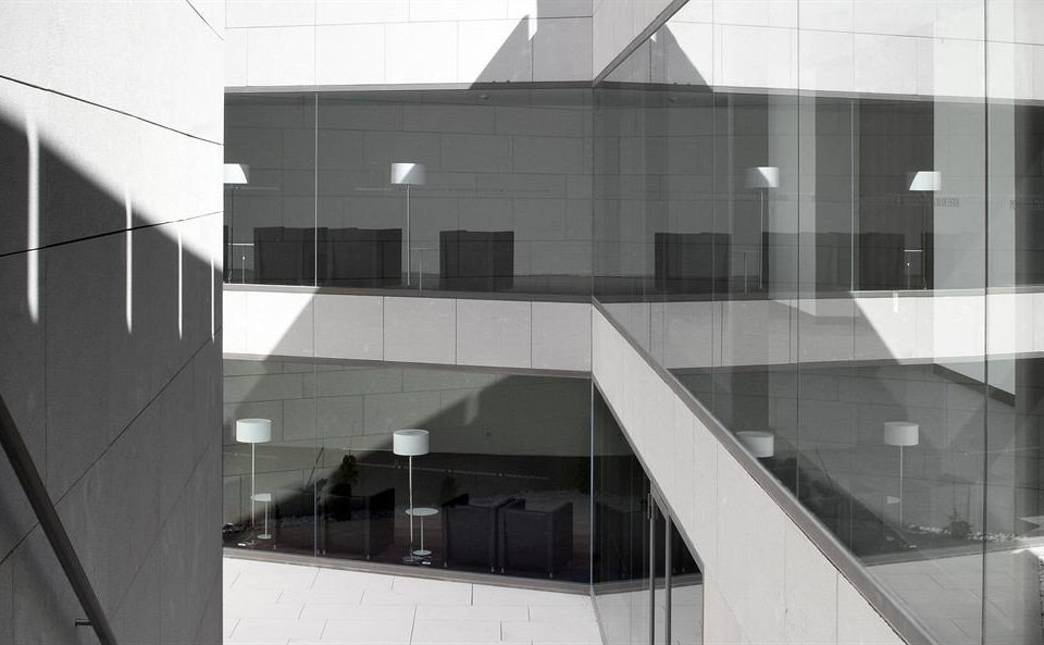 building white structure Architecture professional house daylighting monochrome headquarters shape glass hall office tile tiled