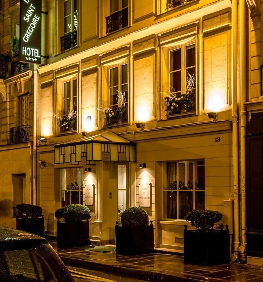 building road house night Architecture street lighting home evening stone