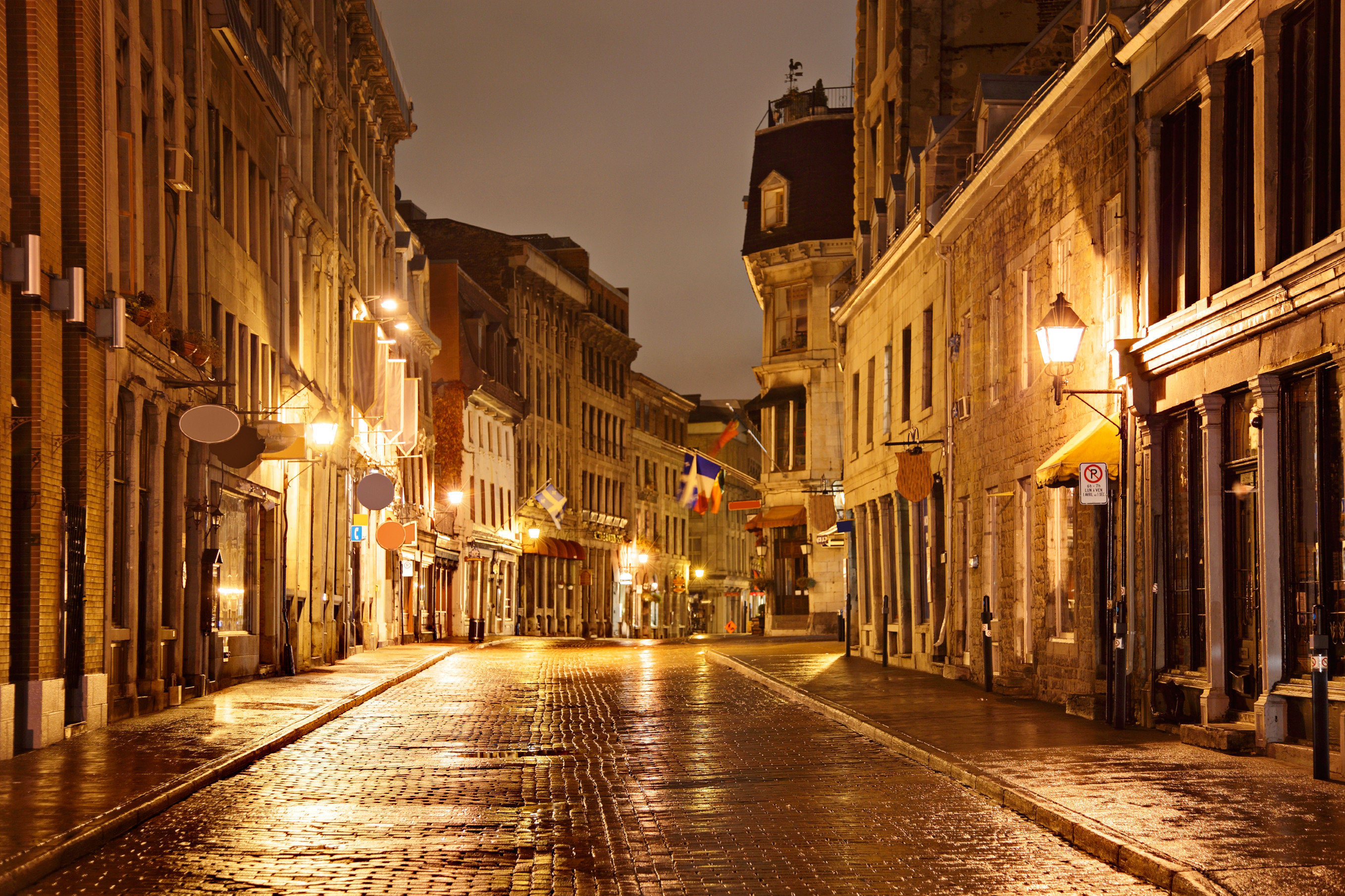 Architecture Buildings Canada Exterior Hotels Montreal Nightlife Trip Ideas building way ground road scene sidewalk street alley night Town rain City light evening neighbourhood lane cityscape infrastructure lighting rainy Downtown nonbuilding structure