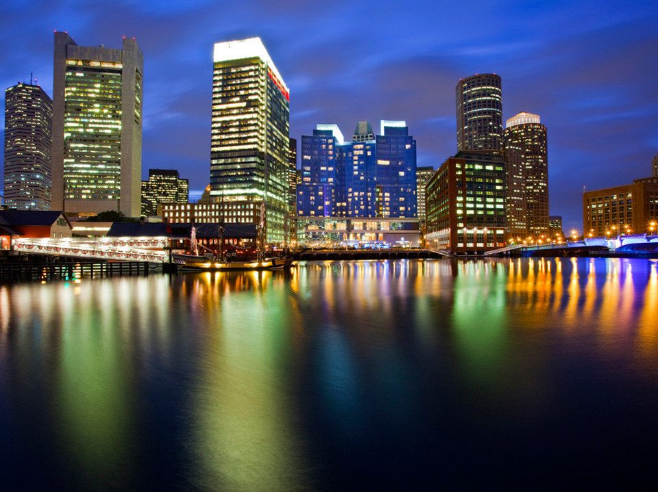Architecture Buildings City Nightlife Scenic views Waterfront water skyline metropolitan area night cityscape horizon landmark River metropolis skyscraper dusk evening scene Downtown dawn distance