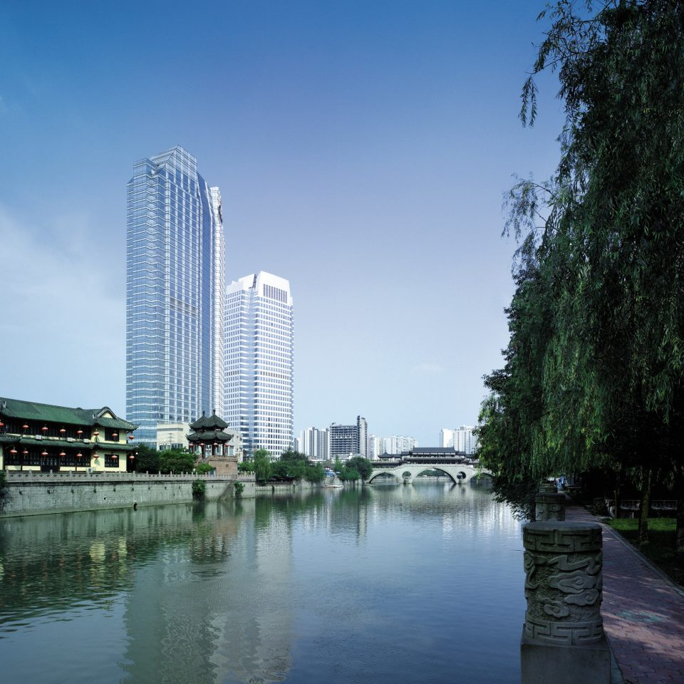 Architecture Buildings City Exterior Waterfront water sky tree metropolitan area River landmark tower block cityscape skyscraper skyline reflecting pool Downtown waterway dock Lake marina day