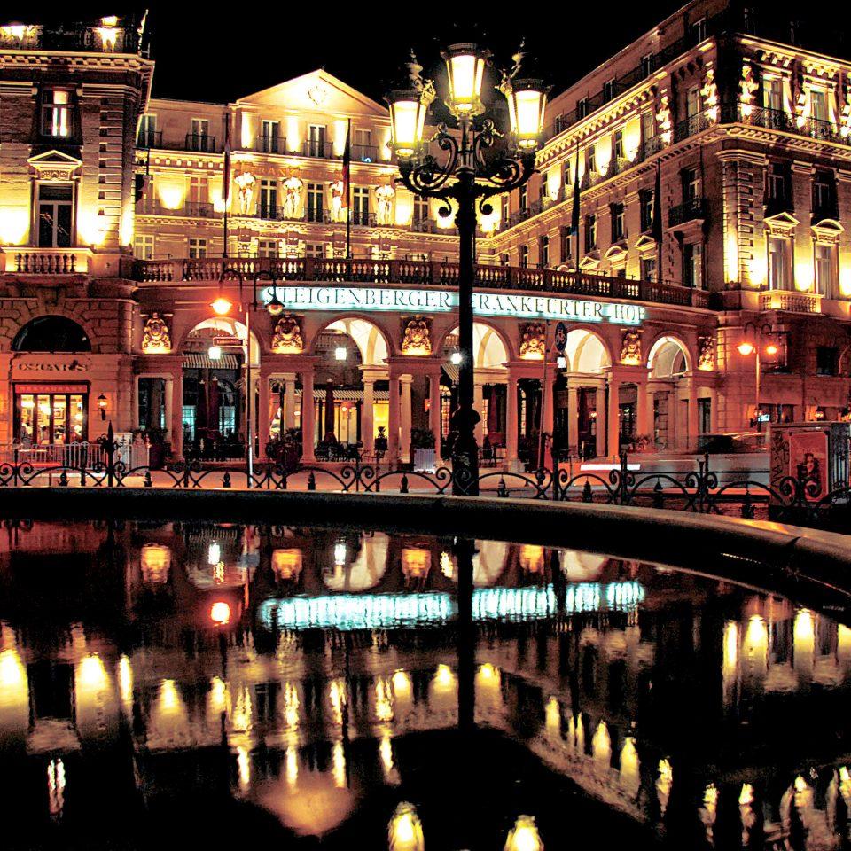 Architecture Buildings Elegant Exterior building night landmark lit evening metropolis cityscape waterway light City dark