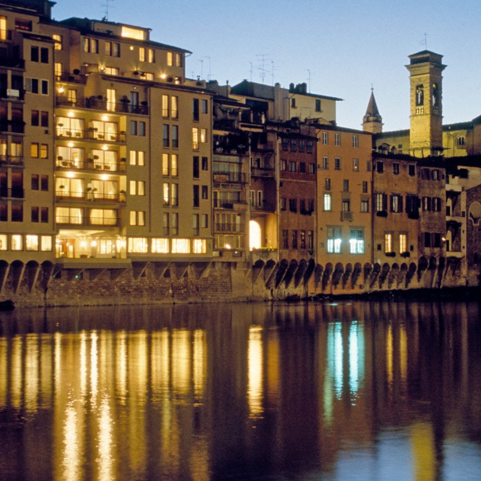 Architecture Buildings City Exterior Modern River Waterfront water sky cityscape night evening dusk waterway dock skyline