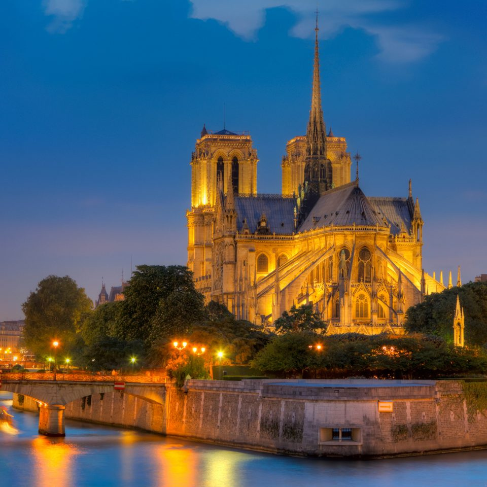 Architecture Buildings City Exterior water sky building River landmark night cityscape evening dusk Sunset cathedral château palace flower