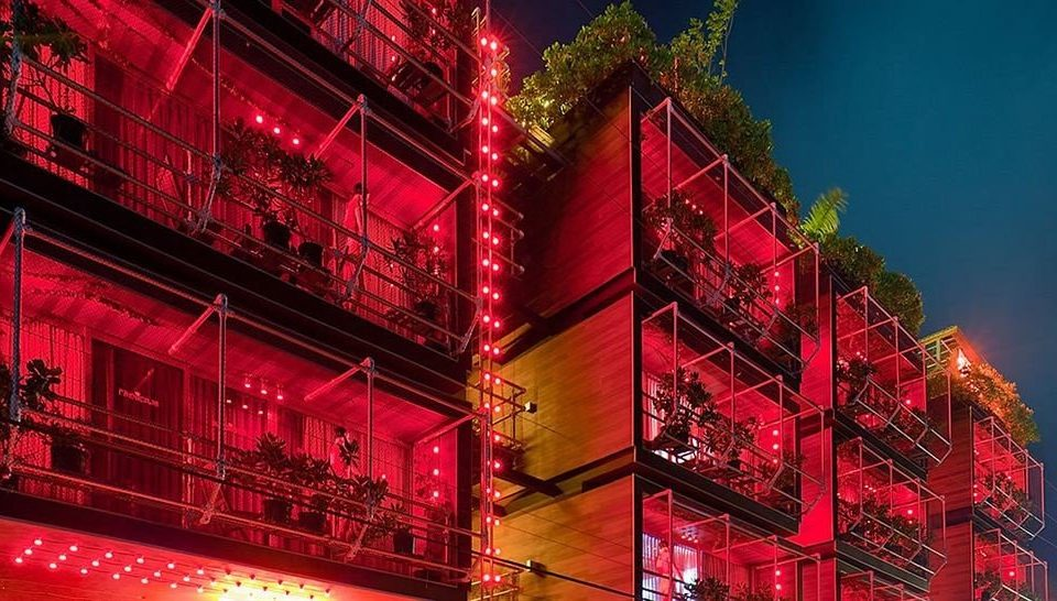 Architecture Buildings Exterior Hip Modern red night City