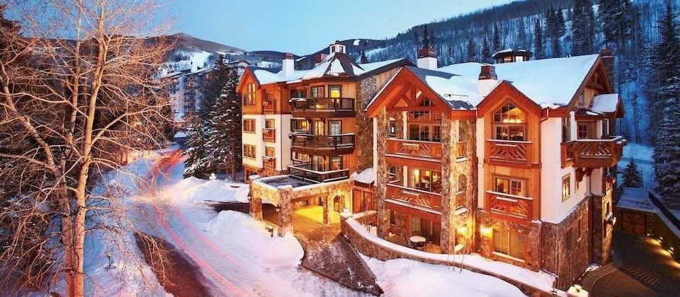 Architecture Buildings Classic Exterior Mountains Outdoors Scenic views snow Winter mountain house Town geological phenomenon season Resort