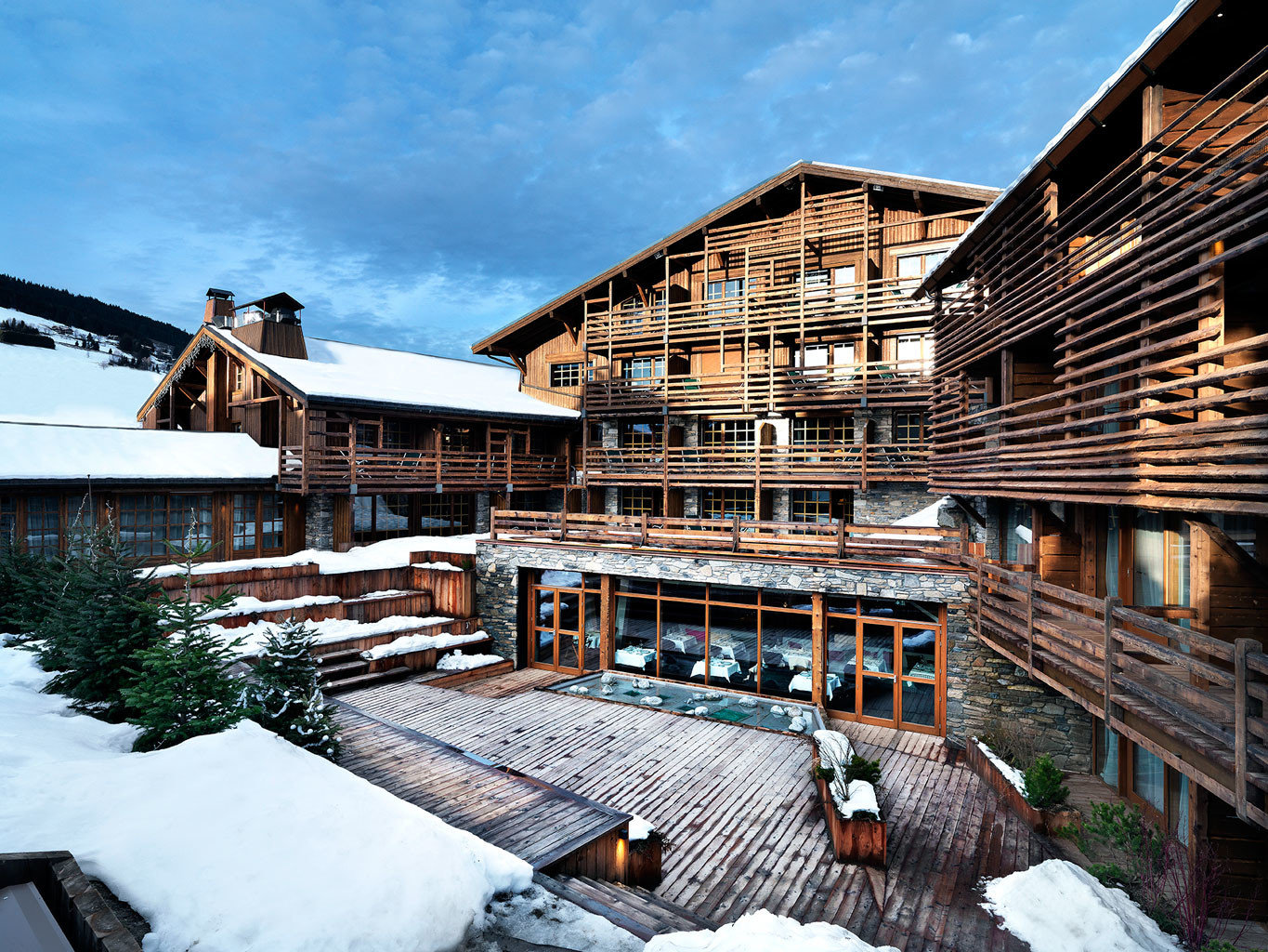 Buildings Country Exterior Hip Lodge Rustic building sky snow house Architecture Resort residential area home roof