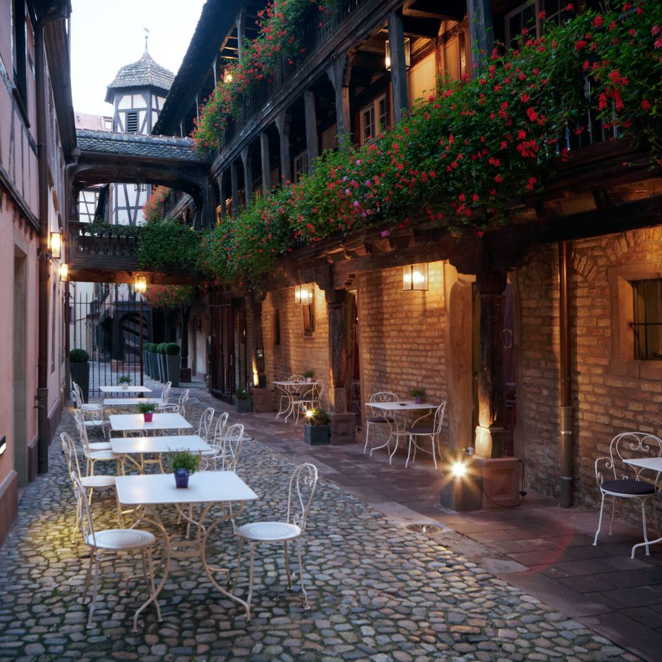 Architecture Buildings Exterior Lounge Outdoors house Town night street lighting alley Courtyard evening restaurant way sidewalk