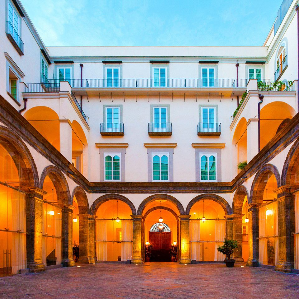 Architecture Buildings Exterior Modern Resort building yellow property orange Town palace Courtyard way