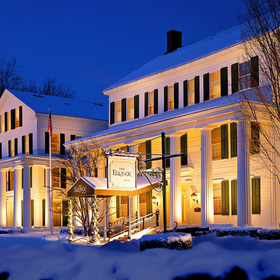 Architecture Buildings Elegant Exterior Garden Grounds building house tree Winter Town neighbourhood home snow night residential area evening Downtown mansion