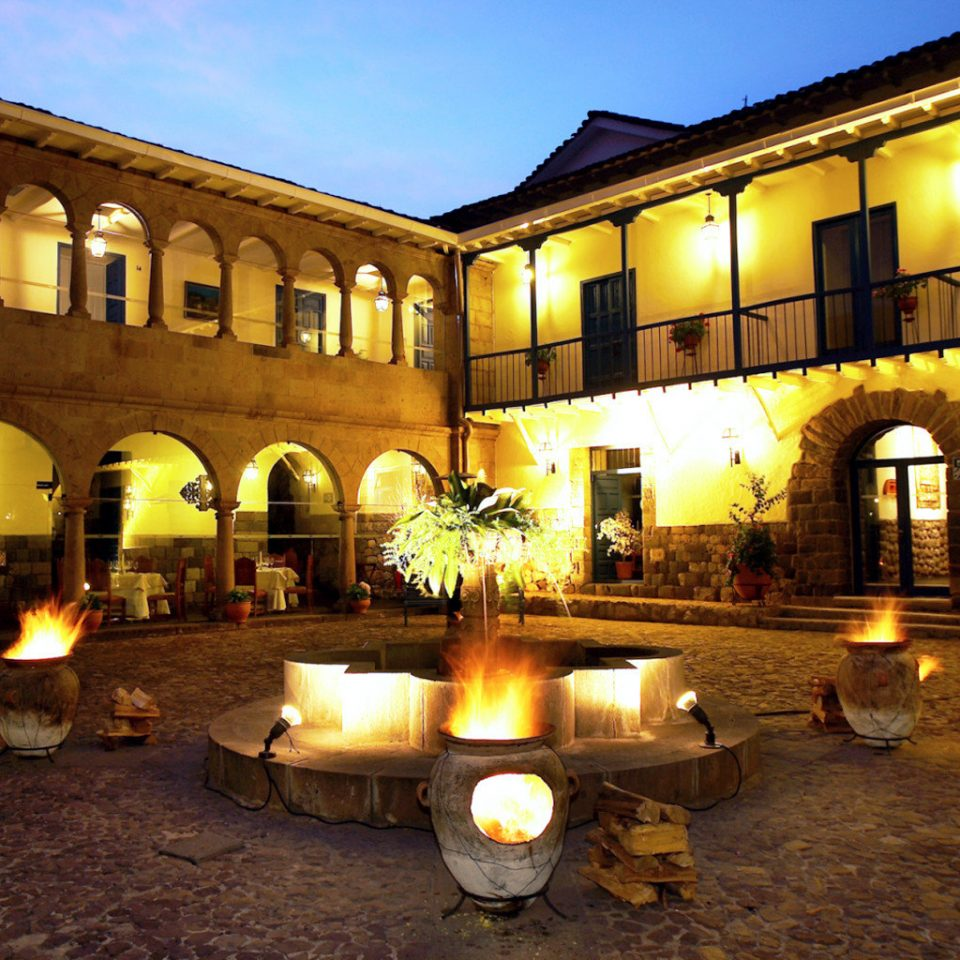 Architecture Buildings Exterior Fireplace Landmarks sky ground building night plaza hacienda palace lighting evening Resort