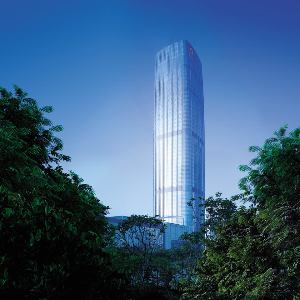 Architecture Buildings Exterior Modern tree sky skyscraper landmark building tower tower block horizon cloud sunlight tall cityscape water feature bushes Forest surrounded